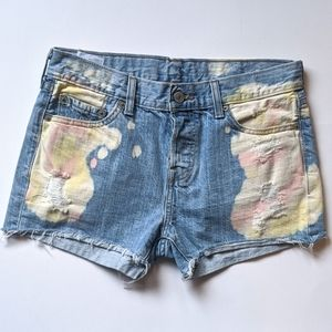 Levi's Custom Tie Dye Cut Off Denim Shorts